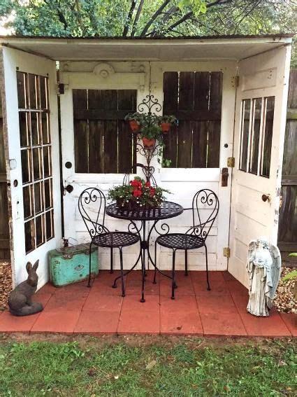fun garden vignettes  vintage doors backyard seating