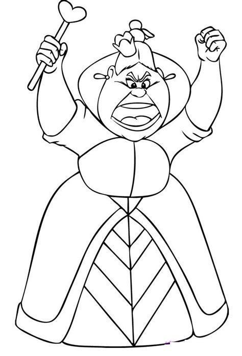 coloring page queen of hearts free printable alice in wonderland coloring pages