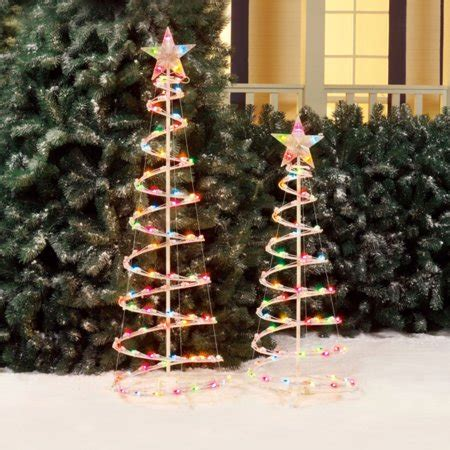 4 ft spiral christmas trees at walmart time 3 and 4 lighted spiral tree sculptures multi color lights 2 pack