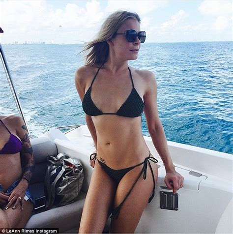 boat t top string leann rimes soaks up the sun in a bikini on mexico holiday