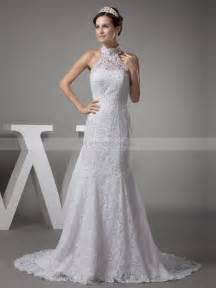 Wedding Dress High Neck Vintage High Neck Lace Over Satin Mermaid Wedding Dress