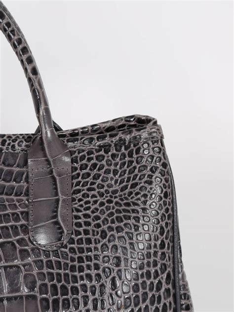 grey pattern handbag longch roseau croco pattern bag grey luxury bags