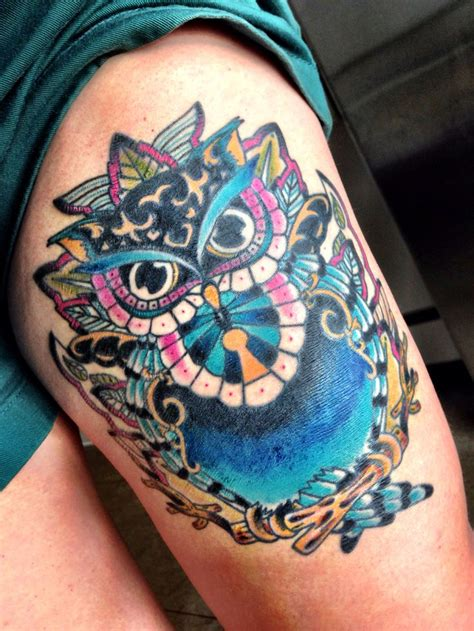colorful owl tattoo colorful owl get tattooed