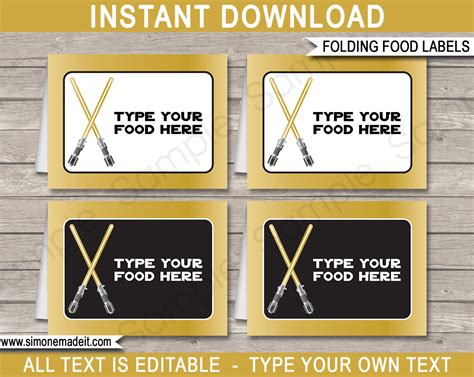 wars card template gold wars food labels place cards birthday