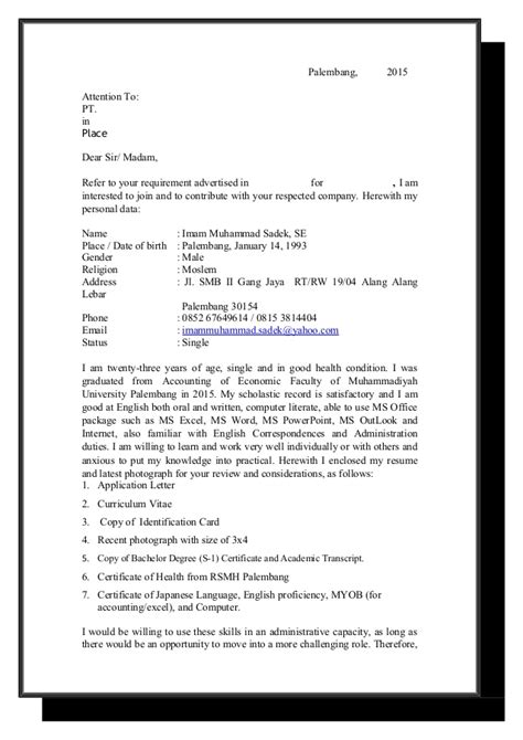 application letter and curriculum vitae sle application letter and cv terbaru