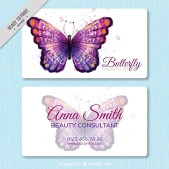 Butterflies And Pansies Business Card Template by Hairdressing Salon Elements Vector Free