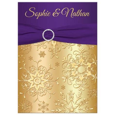 purple and gold wedding invitations winter wedding invitation purple gold snowflakes printed ribbon jewels