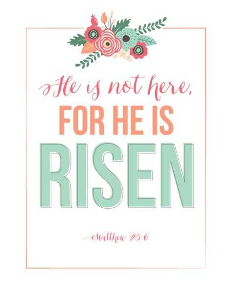 free printable easter quotes sunday encouragement he is risen printable landeelu com