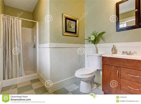 bathroom with green walls bathroom with checkered tile floor and green white walls stock photo image 57589156