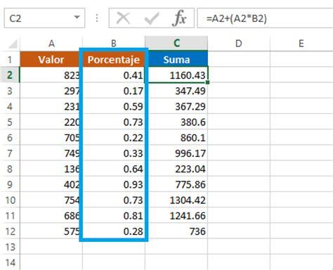 sumar o restar porcentajes en excel excel total