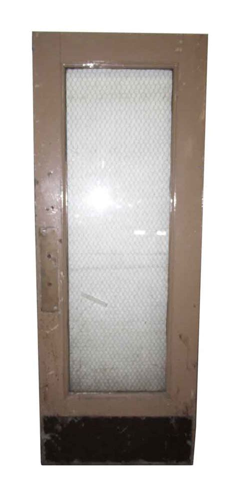One Glass Panel Metal Door With Chicken Wire Glass Olde Wired Glass In Doors