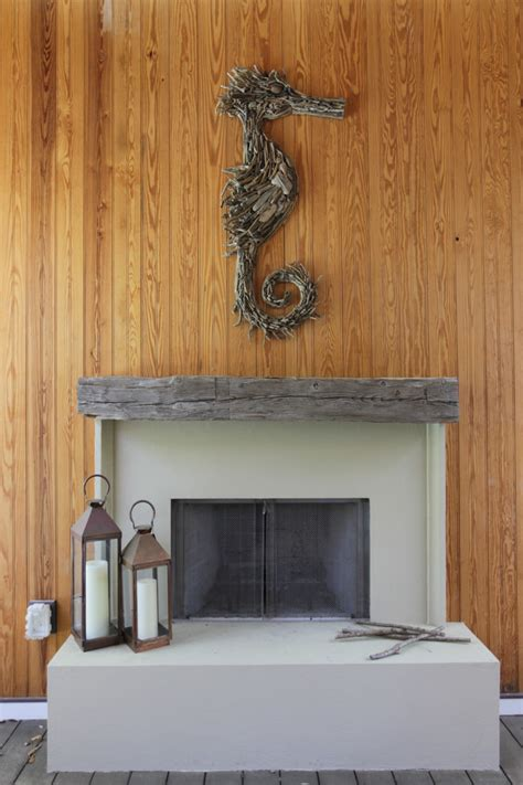 driftwood fireplace mantel porch with beadboard