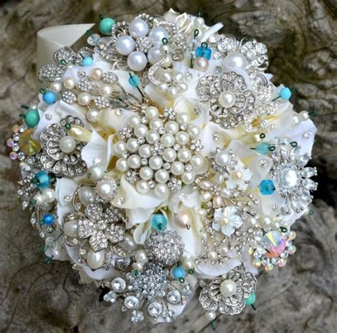 Order Bridal Bouquet by Deposit On Blue Brooch Wedding Bridal Bouquet