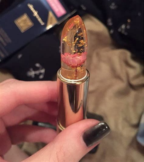 color changing lipstick clear lipstick with real flowers inside that changes color