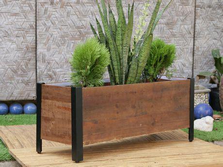 grapevine rectangular urban garden recycled wood planter