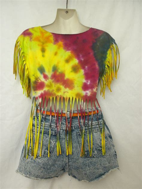 tie dye fringe t shirt top cover up festival hippie boho
