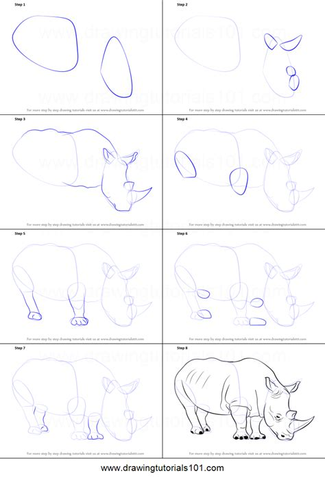 how to draw a doodle step by step how to draw a rhinoceros printable step by step drawing