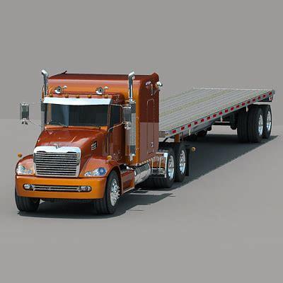 model semi trucks 3d semi truck flatbed trailer model