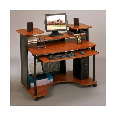 Wood Computer Desk In Black And Cherry 18859 Studio Computer Desks