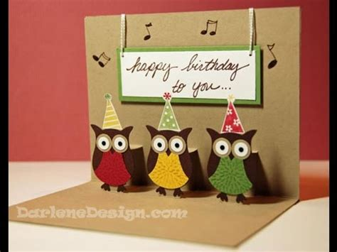 stin up cards to make simple two step owl punch pop up card