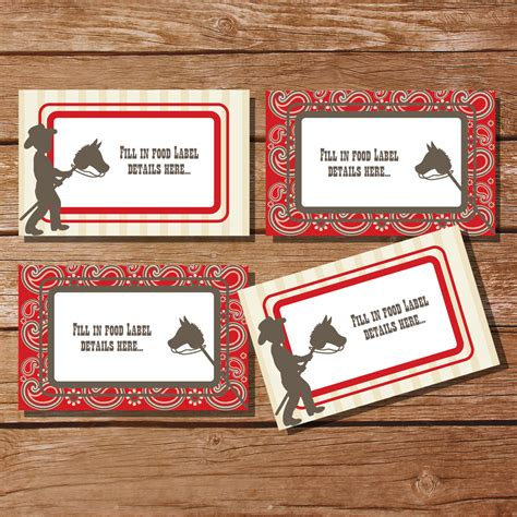 buffet name tags cowboy tent cards food labels buffet cards food tags