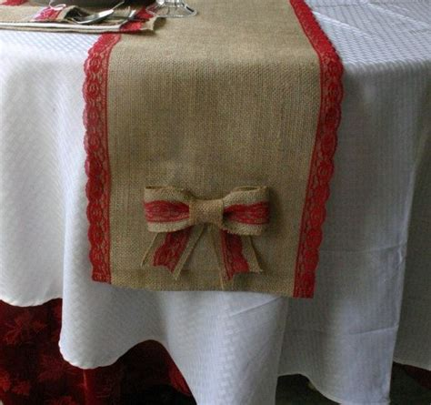 burlap christmas table runner with bow and red lace