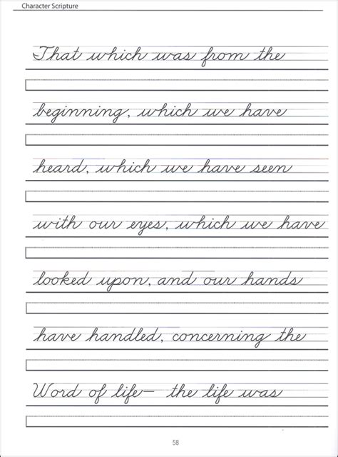 printable writing worksheets for grade 4 grades 2 4 zaner bloser cursive with scripture passages