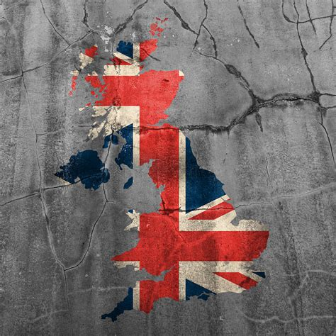 United Kingdom Outline Flag by United Kingdom Uk Union Flag Country Outline Painted On Cracked Cement Mixed Media By