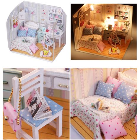 Diy Dollhouse Furniture by Diy Wood Dollhouse Miniature With Led Furniture Cover Doll