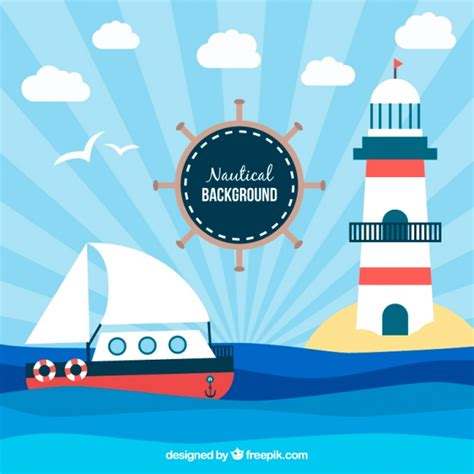 nautical background decorative nautical background with ship and lighthouse