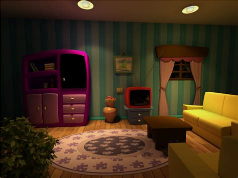 livingroom cartoon cartoon scene living room night version by
