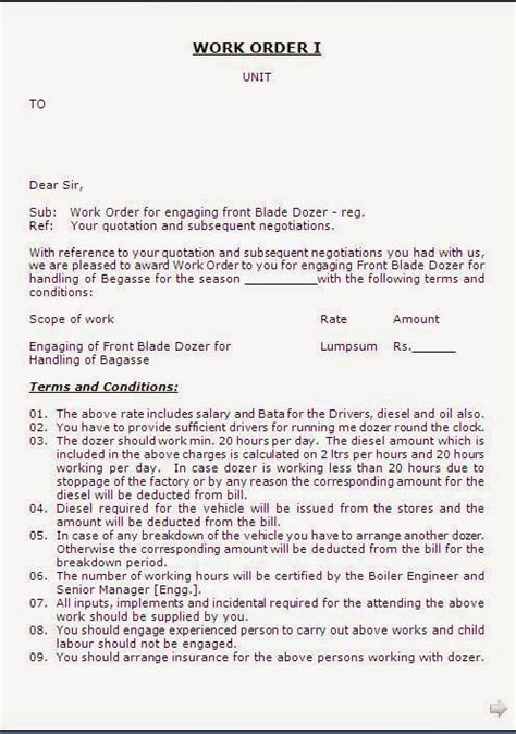 work order letter format for labour contractor