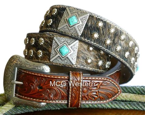 nocona western mens belt leather hair square concho brown