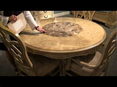 Beige Dining Room regal round pedestal dining table with lazy susan by a r t