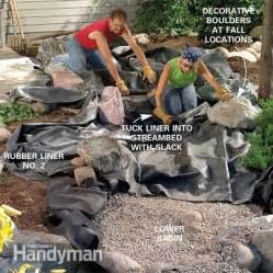 how to build a backyard pool build a backyard waterfall and the family handyman
