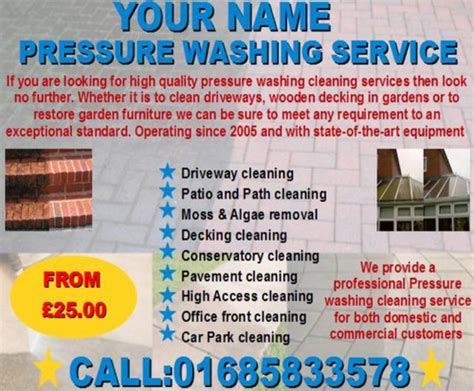 Pressure Washing Cleaning Business Templates Download Business Power Washing Flyer Templates Free