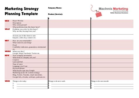 Marketing Strategy Planning Template Template For Marketing Plan