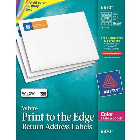 Avery Return Address Print To The Edge Labels For Color Laser Copier 6870 3 4x2 1 4 Matte Avery 3 4 Labels Template