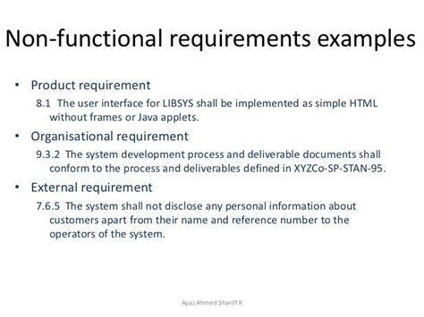 non functional requirements template requirements engineering