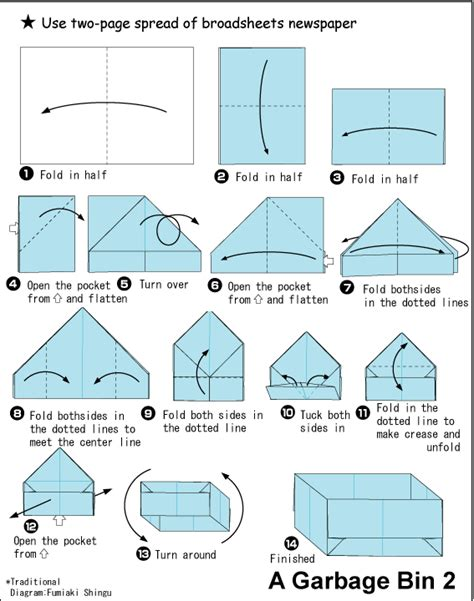 Easy Origami For Using A4 Paper - origami garbage bin 2