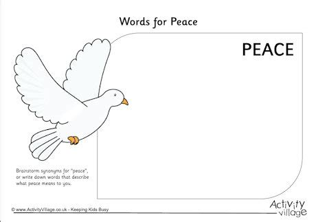 Peace Day Worksheets by Words For Peace