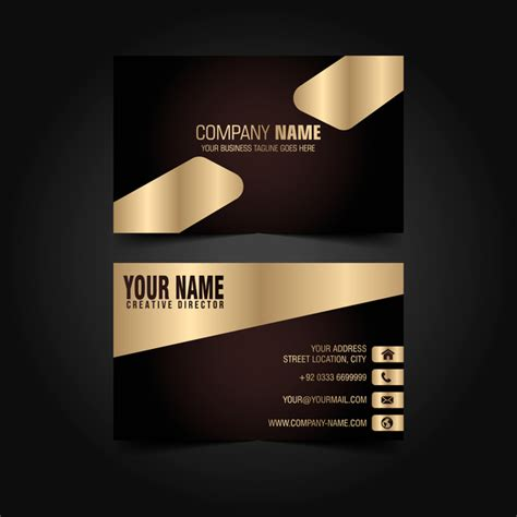 Black Business Card Template Vector by Golden With Black Luxury Business Card Template Vector 04