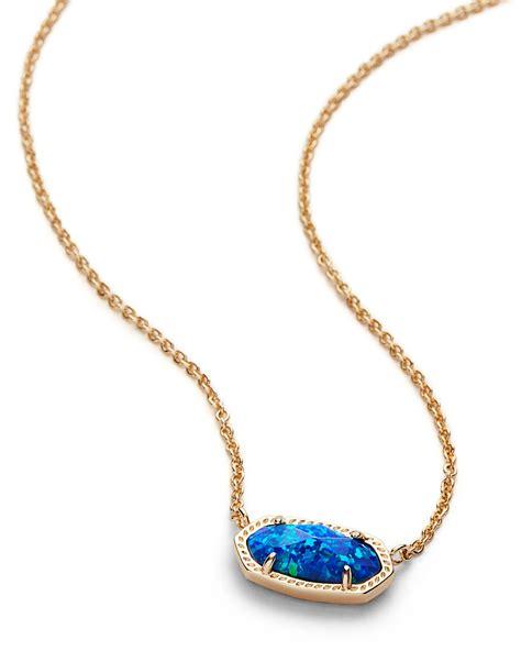 blue opal necklace elisa gold pendant necklace royal blue opal kendra scott