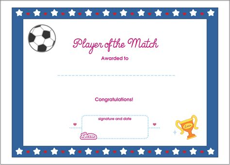 player of the day certificate template player of the match printable award certificate lottie dolls