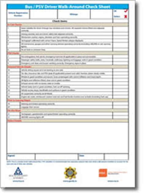 hgv driver walk around check sheet health and safety