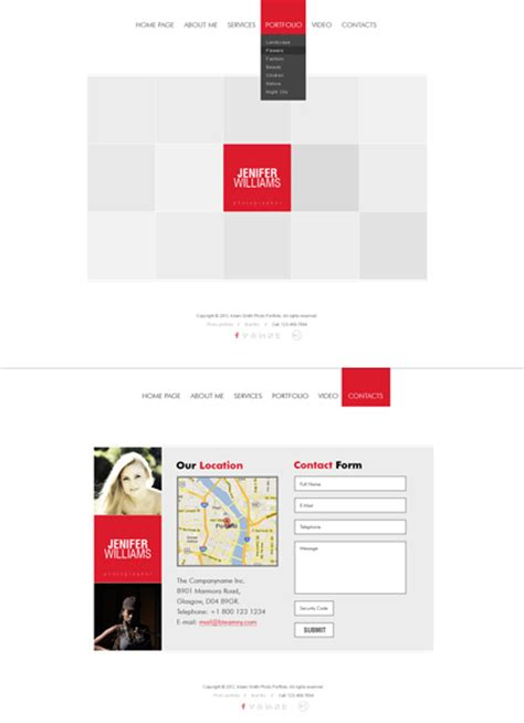 white square html5 photo video gallery template