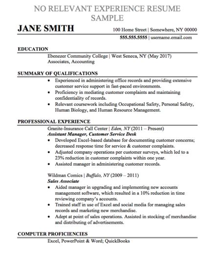 Relevant Experience Resume by Resume Sles And Templates Chegg Careermatch