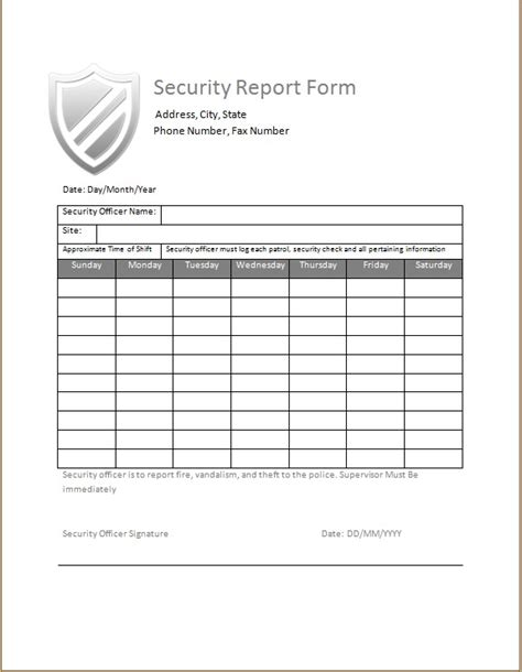 security guard daily activity report microsoft word excel templates