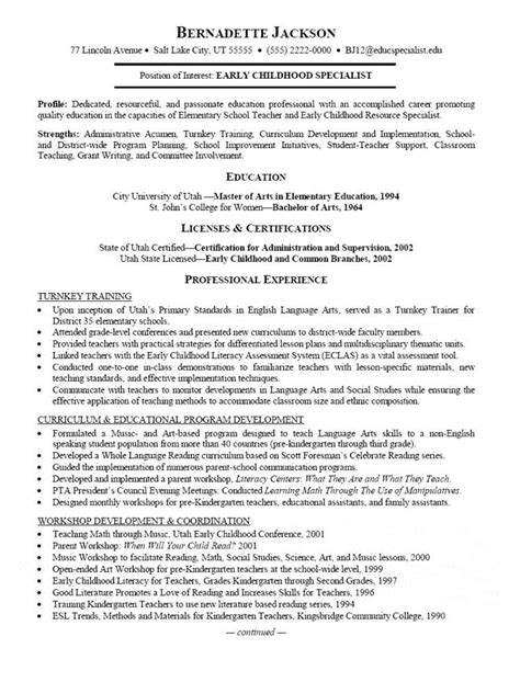 Resume Template For Early Childhood early childhood specialist resume