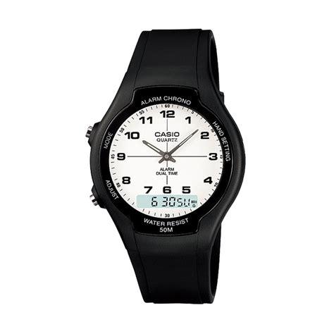 Jam Tangan Pria Casio Original Aw 90h 7b Digital Analog Murah jual casio aw 90h 7b dual time digi white jam tangan pria harga kualitas terjamin